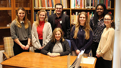 Pamela Gaber, Ph.D., with Lycoming College students at the Cyprus American Archaeological Research Institute in Cyprus