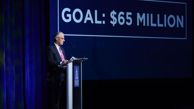 President Kent Trachte announces the goal of the capital campaign at Lycoming College