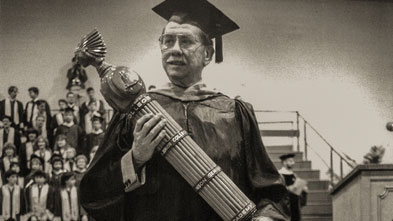 "John ""Jack"" Hollenback at commencement in 1987"