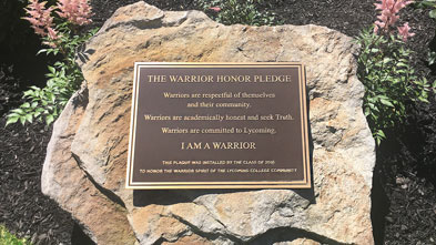 Plaque commemorates Warrior Honor Pledge