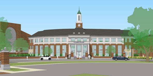 View of the proposed Gateway Building from Franklin St.
